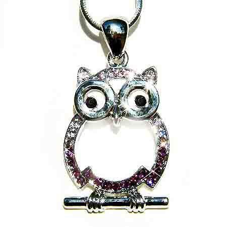 Purple Wise Owl Teacher on the branch Swarovski Crystal Necklace