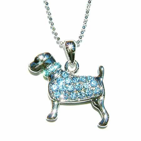 Blue Swarovski Crystal Rottweiler Dog Pendant Chain Necklace