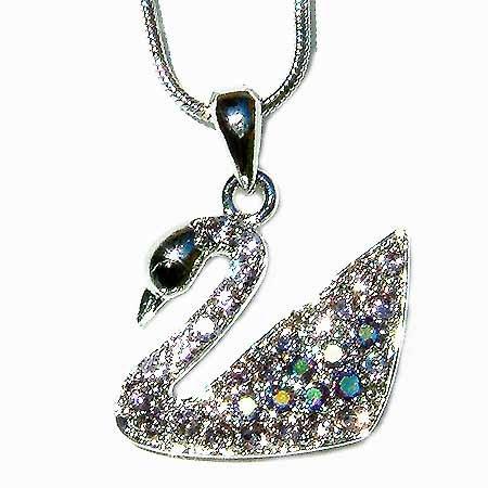 Bridal Wedding Swarovski Crystal Purple Swan Pendant Necklace