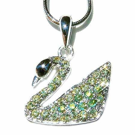Swarovski Crystal Spring Green Swan Pendant Necklace