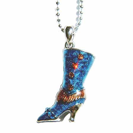 Western Cowboy Cowgirl Rodeo High Heel Boot Crystal Necklace