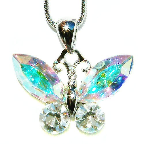 Bridal Swarovski Crystal Clear AB Butterfly Pendant Necklace
