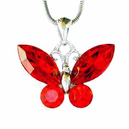 Red Butterfly Swarovski Crystal Necklace