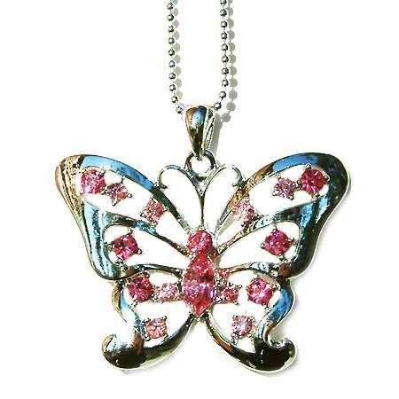 Big Cutout Butterfly Swarovski Pink Rose Crystal Necklace