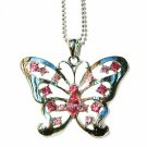 Big Cutout Butterfly Swarovski Pink Rose Crystal Necklace
