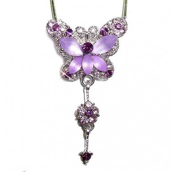 Purple Butterfly Dangling Flower Swarovski Crystal Necklace