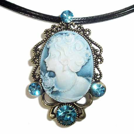 3 in 1 Cameo Swarovski Crystal Pendant, Brooch & Necklace