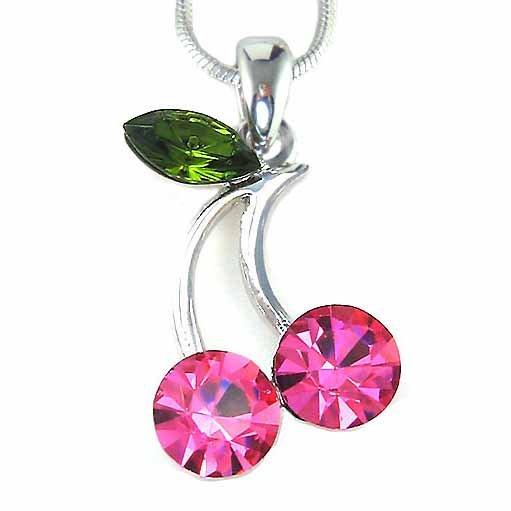 Juicy Pink Cherry Swarovski Crystal Necklace
