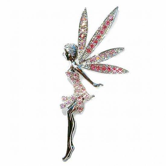 Huge Pink Tinkerbell Fairy Swarovski Crystal Brooch