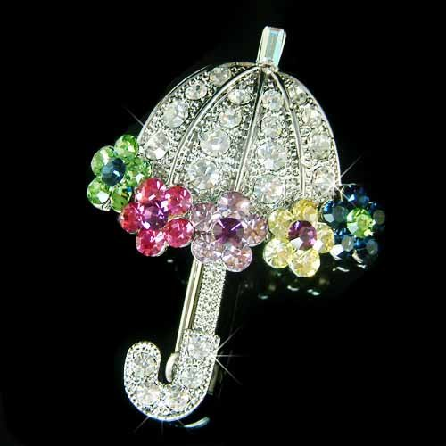 Rainbow Umbrella Swarovski Crystal Brooch