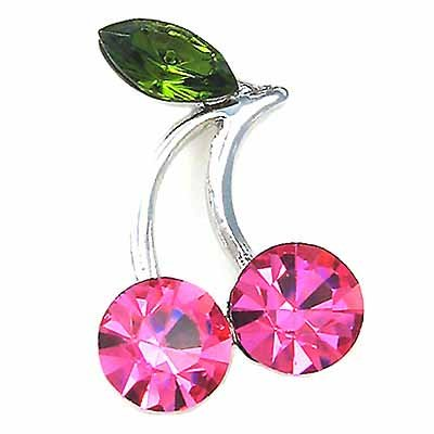 Juicy Pink Cherry Swarovski Crystal Brooch