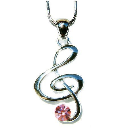 Pink Treble G Clef Swarovski Crystal Necklace