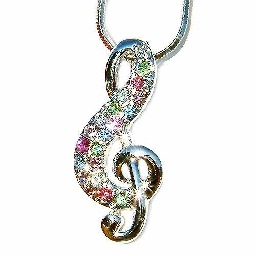 Rainbow Treble G Clef Swarovski Swarovski Crystal Necklace