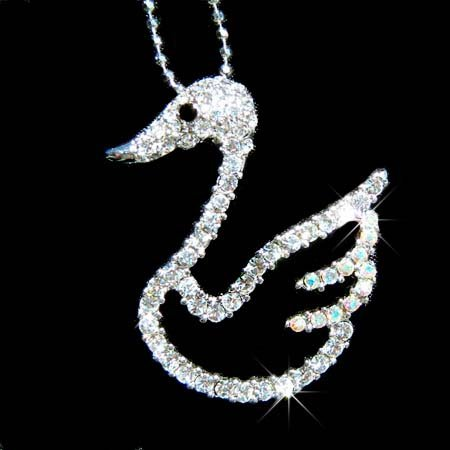 Bridal Swarovski Crystal Clear Cut out Swan Pendant Necklace