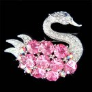 Big Pink Swan Swarovski Crystal Brooch