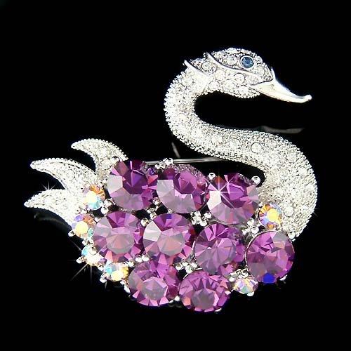 Big Purple Swan Swarovski Crystal Brooch