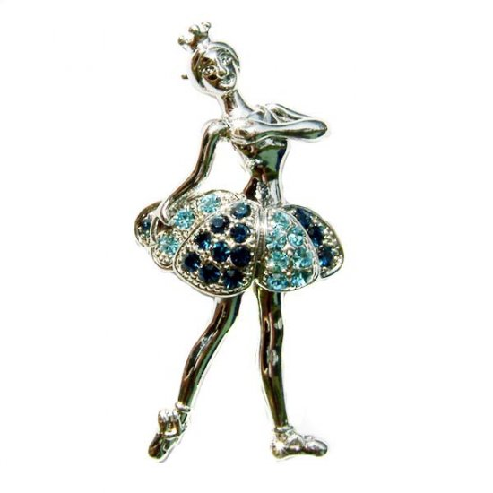 Blue Ballerina / Ballet Dancer Swarovski Crystal Brooch