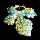 Swarovski Crystal Fall Maple Leaf Christmas Brooch