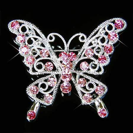 Pink Cutout Butterfly Swarovski Crystal Brooch