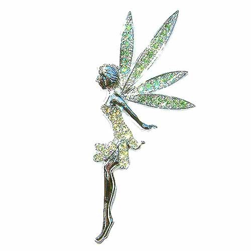 Huge Green Tinkerbell Fairy Swarovski Crystal Brooch