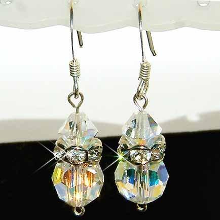 Simple Swarovski Crystal Bridal Sterling Silver Earrings