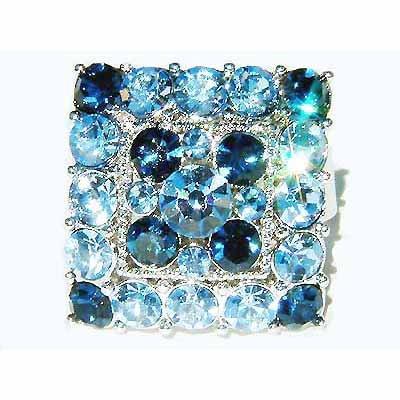 Blue Square Swarovski Crystal Cocktail Ring