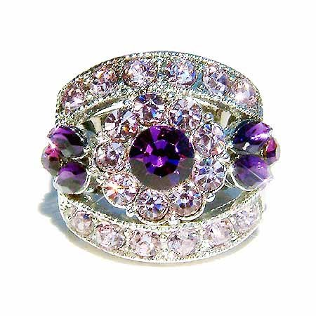 Purple Flower Swarovski Crystal Ring