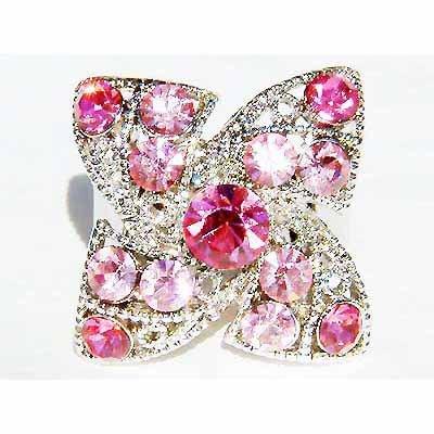 Pink Four Leaf Clover Shamrock Swarovski Crystal Cocktail Ring