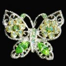 Spring Bridal Wedding Green Butterfly Swarovski Crystal Brooch