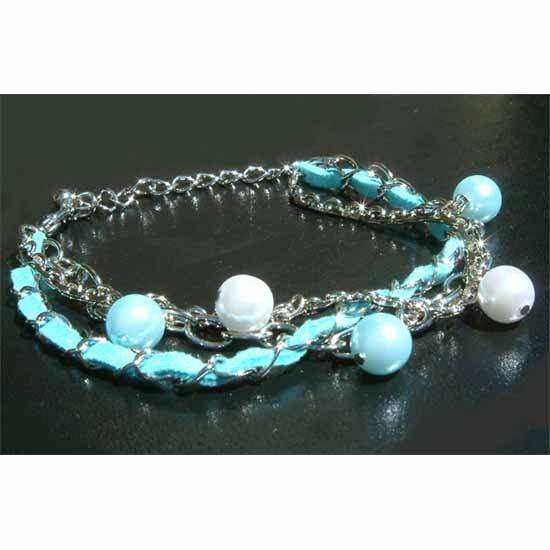 Aqua Swarovski Pearl Leather Bracelet