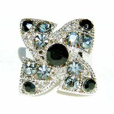 Black Swarovski Crystal Lucky Four Leaf Clover Cocktail Ring