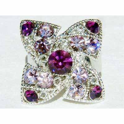 Purple Four Leaf Clover Shamrock Swarovski Crystal Cocktail Ring