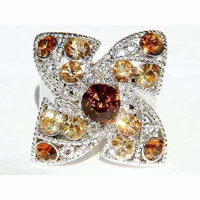 Topaz Gold Four Leaf Clover Shamrock Swarovski Crystal Ring