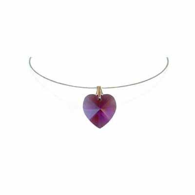 Simple Purple Heart Swarovski Crystal Necklace