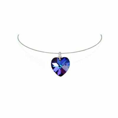 Simple Blue Heart Swarovski Crystal Necklace