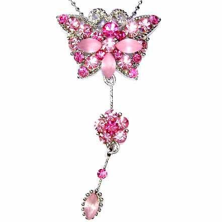 Butterfly Dangling Flower Swarovski Pink Rose Crystal Necklace