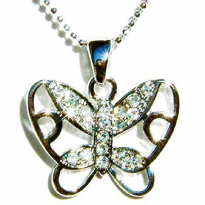 Cutout Butterfly Swarovski Crystal Necklace