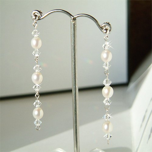 Freshwater Pearl & Swarovski Crystal Sterling Silver Earrings