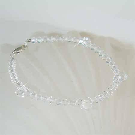 Bridal Swarovski Crystal Drop Sterling Silver Bracelet
