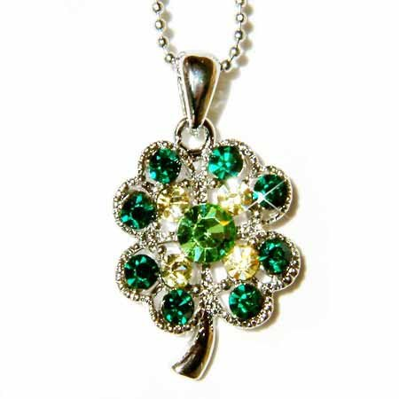 Lucky Four Leaf Clover Swarovski Crystal Necklace