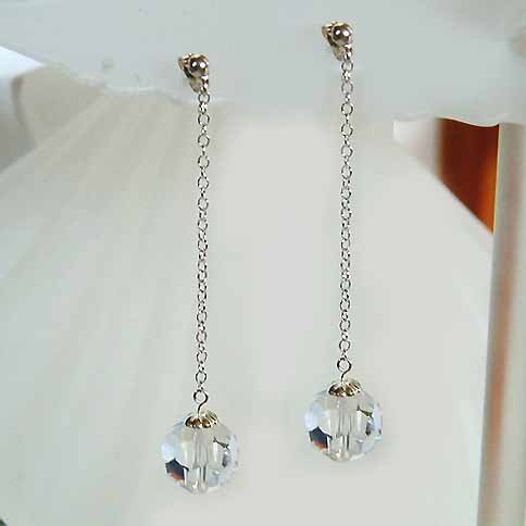 Bridal Swarovski Cystal Ball Long Sterling Silver Chain Earrings