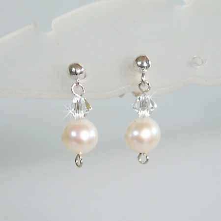 Freshwater Pearl Swarovski Crystal Sterling Silver Earrings