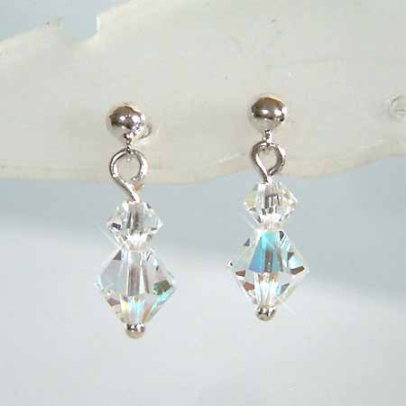 Simple Swarovski Crystal Bridal Sterling Silver Earring