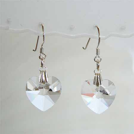 Bridal Swarovski Clear Crystal Heart Sterling Silver Earrings