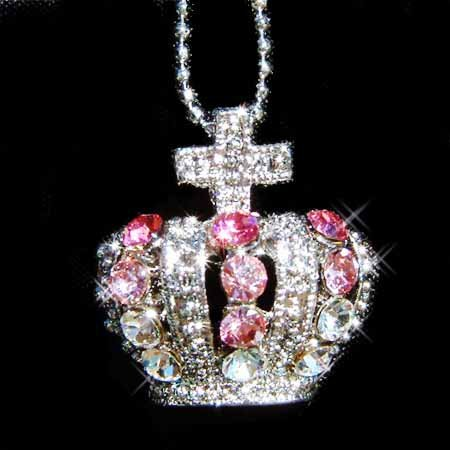 Swarovski Crystal Pink Puff Crown & Cross Pendant Necklace