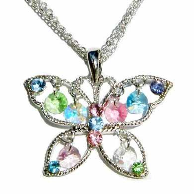 3 Strand Butterfly Swarovski Crystal Drop Necklace