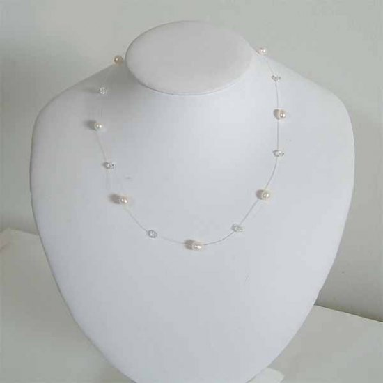 Floating Freshwater Pearl Swarovski Crystal Silver Necklace