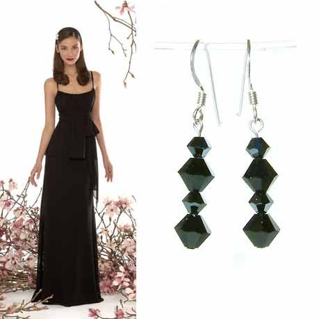 Black Bridal Swarovski Crystal Sterling Silver Earrings
