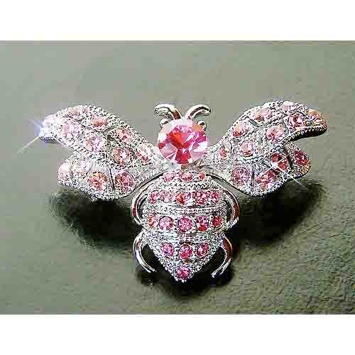 Bumble Honey Bee Swarovski Rose Crystal Brooch