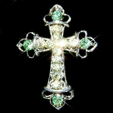 Green Jesus God Religious Cross Swarovski Crystal Brooch